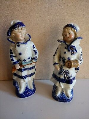 """Two Unmarked Antique/Vintage Girl Figurines Rare both 7.2"""" height"""