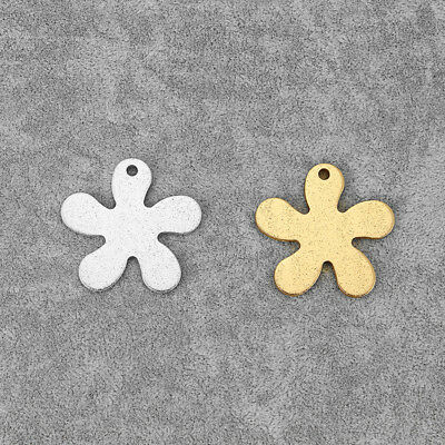 5Pcs Silver/Gold Tone Aluminum Alloy Flower Shaped Charms Pendants Jewelry Beads