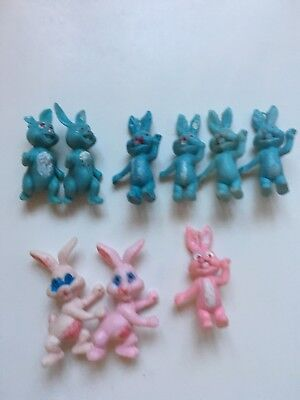 9 Vintage Hong Kong China Poorly Painted Plastic Toy Funny Farm Bunny Rabbit Lot