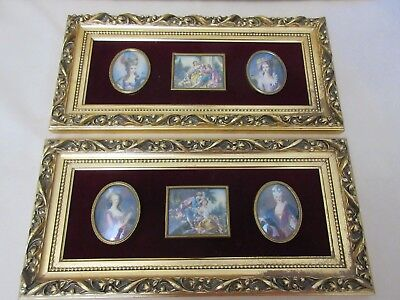 Antique Framed 4 Signed Miniature Portraits &2 Victorian Scenes,all Hd Painted