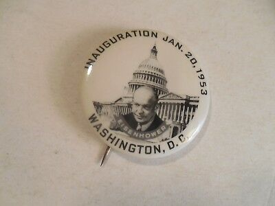 Presidential Pin Back Campaign Button Dwight Eisenhower 1953 Inauguration Badge