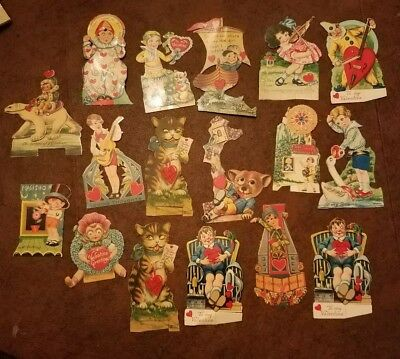 17 VTG ANTIQUE VALENTINE  Mechanical Made in Germany Ephemera Used cats flappers