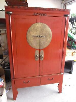 Large Asian Rustic Vintage Cabinet Red Colour Brass Engraved Details Dragons