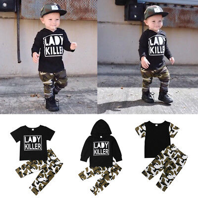 2Pcs Newborn Toddler Baby Boy Camouflage Clothes T-shirt Tops+Pants Outfits Set