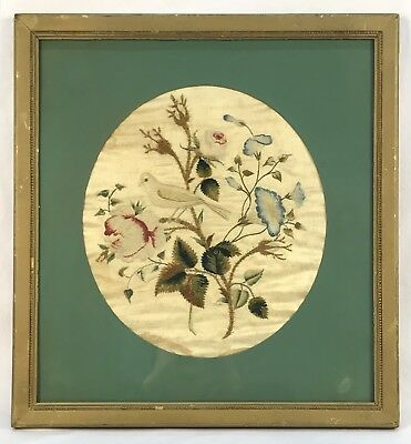 Antique Vintage Chinese Hand Embroidered Silk Needlepoint Bird Flowers Leaves