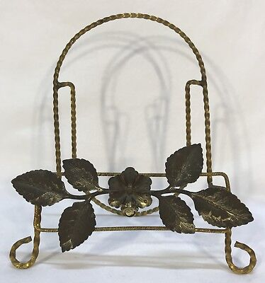 Antique Vintage Brass & Tin Wire Flower Leaf Easel Plate Stand Display
