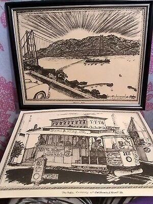 San Fransisco ART by C F Stanbrough Lithograph Golden Gate Bridge Trolley Signed