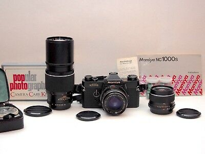 Mamiya NC1000S 35mm Film SLR Camera 3 Lens Outfit w Instructions, Film, Meter