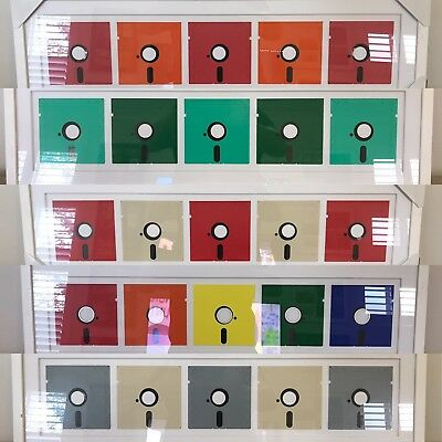 "PUSH5 5% OFF - 5 Framed Retro Mac PC Floppy Disk Disc Artwork 5.25"" Colours Art"