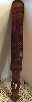Antique Carved Oriental Wooden Japanese Page Turner