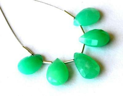 Natural Fine Chrysoprase Faceted Pear Gemstone Beads 7X10 - 7X11 Mm 5 Pcs #311