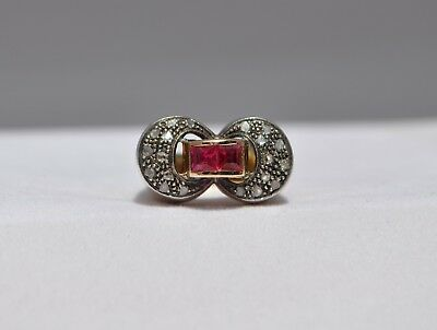 Antique Old 1800S French European Ring 18K Solid Gold Platinum - Diamonds Ruby