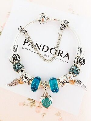 """Authentic Pandora Bracelet Silver Bangle with """"First My Mother"""" European Charms"""