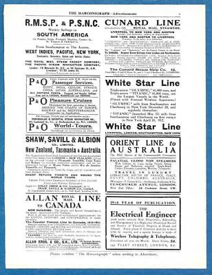 ORIGINAL 1911 TITANIC FIRST VOYAGE ADVERTISEMENT WHITE STAR LINE from MAGAZINE