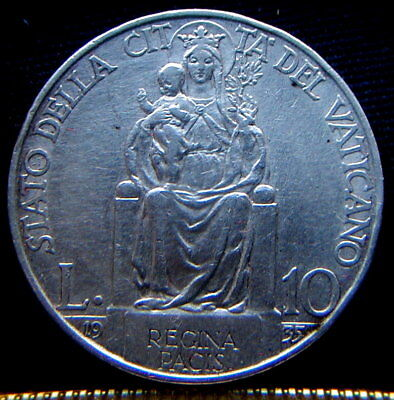 1935 Italy VATICAN rare silver coin 10 lire XF high quality  Pope PIO XI