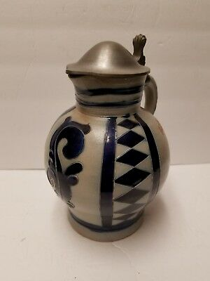 Vintage German Original Salzglasur Stein stoneware  pitcher  with Metal Lid