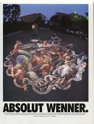 "1996 Absolut Vodka Print Ad ""absolut Wenner."" Bar Art Decor From Vanity Fair Mag"