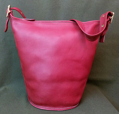 Vintage Coach Large Zip Top Bucket-Duffle Bag*9085*Red Leather-Brass Hardware
