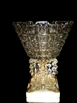 Vintage Ornate Compote Crystal Bowl w/ Marble Base and Prisms ..Hugs and Kisses?