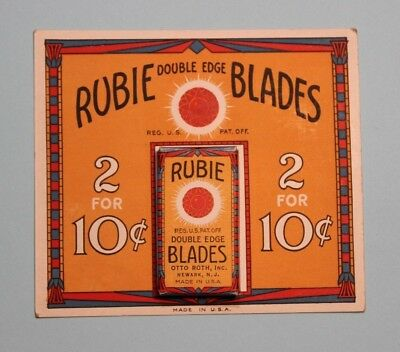 NOS Rubie 2 Blade Pack on Display Card - Rubie Blade Corp., Gillette Subsidiary