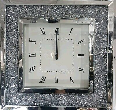 Diamond Crush Crystal Large Sparkly Silver Mirrored Square Wall Clock 50X50cm