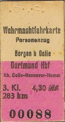 Railway tickets Germany Bergen b Celle Military third class single 1941