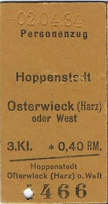 Railway tickets Germany Hoppenstedt to Osterwieck third class single 1934