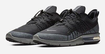 4f943c856a6 Nike Air Max Sequent 4 Shield Mens AV3236-001 Black Grey Utility Shoes Size