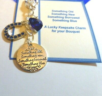 Something Blue Traditional Lucky Bridal Gift Charm Horseshoe & Heart for Bouquet