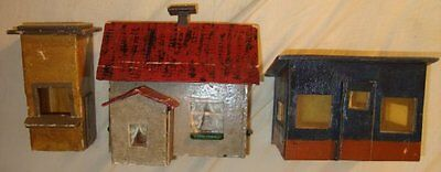 1940s Putz House Barn Christmas Tree Village Vintage Toy Railroad Train Set Old!