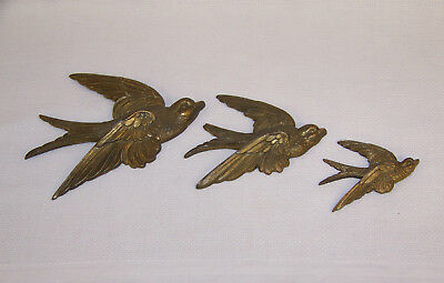 Vintage Brass Metal Set Of 3 Wall Hanging Flying Birds Swallows Croft & Assinder