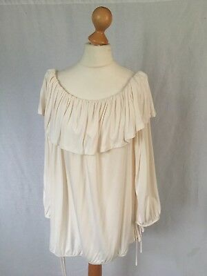 NEW V by VERY Size UK 18 Cream Ivory Layered Top Ruffled Peasant Tie Sleeve