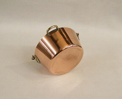 Vintage Miniature Copper & Brass Hanging Jam Pan Cauldron ~ Chef Cooking Kitchen