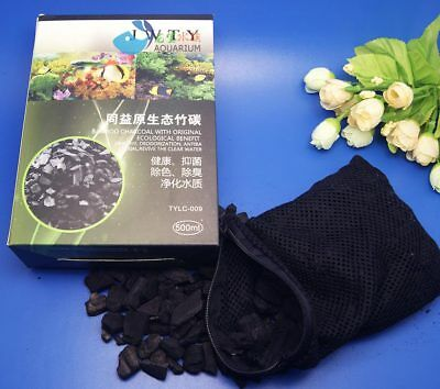 500ML Aquarium bamboo charcoal Activated carbon Canister Sump Filter Media + Bag