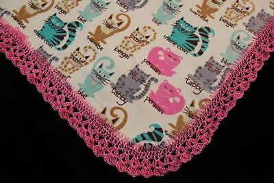 New Baby Shower Gift Receiving Blanket Girl's Hand Crocheted Edge CATS CATS CATS