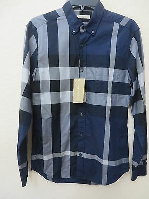 221a26476cb543 BURBERRY Men's Nelson INK Cotton Plaid Check Long Sleeve Size S MSRP $ 295