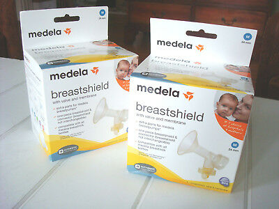 2 BOXES ~ Medela Breastshield 24 mm with Valve and Membrane SEALED #67378