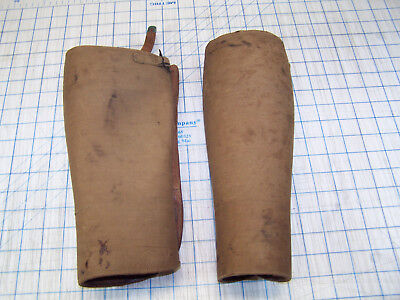 Antique Leather Military Wwi Shin Guards Spats Leggings Gaiters Puttees