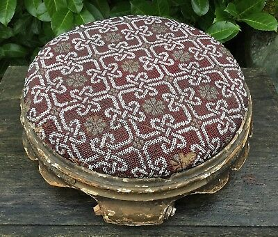 Old Vintage Antique Shabby Chic Victorian Edwardian Glass Beadwork Foot Stool