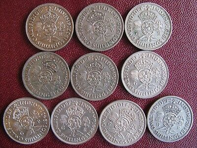 George VI set of 10 pre 1947 Silver Florins/2 Shillings 1937-1946 good grades