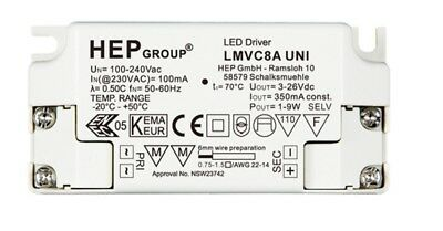 LED Driver Power Supply Transformer 240 VAC 3-26 VDC 1-9W HEP LMVC8AI UNI 350mA