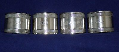 Four Napkin Rings Silver Plate 3 Numbered, 1 engraved Fred Antique