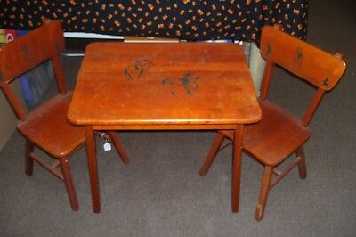 Darling 1950's Childs COWBOY Wooden Table & Two Chairs-So Cute