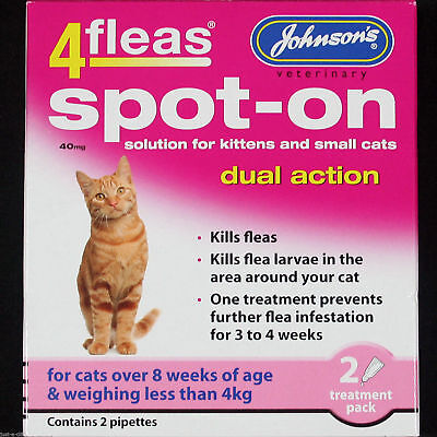Johnsons 4Fleas Spot on Kitten and Smal Cat 40 mg 2 pipettes