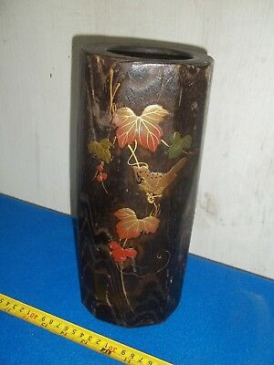 Antique Late 19Th Century Wooden Japanese Vase With Liner Shibayama
