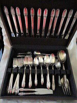 1847 Rogers Bros 1937 First Love SP Flatware in Box 76 Pcs