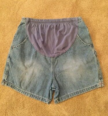 Motherhood Maternity Carpenter Denim Blue Jean Shorts Size Medium