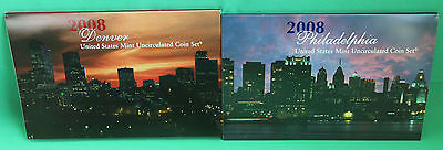2008 P and D United States Mint ANNUAL Uncirculated Coin Set 28 BU Coins and COA