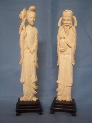 Vintage Pair of 2 Hand Carved Chinese Man Woman Figurine Statues on a Wood Base