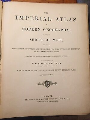 The Imperial Atlas Of Modern Geography W.G Blackie Leather bound Atlas From 1872